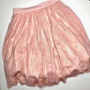 FRANK LYMAN Pink Tulle Sequin Party Skirt